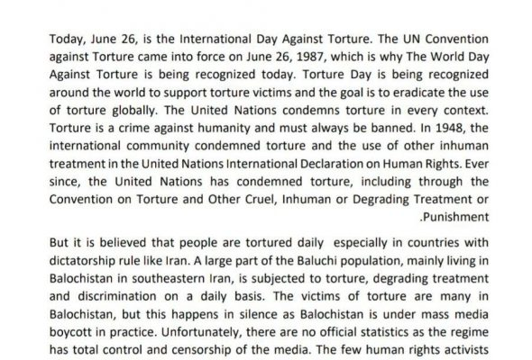 We pay attention to the international day against torture and think about torture victims worldwide