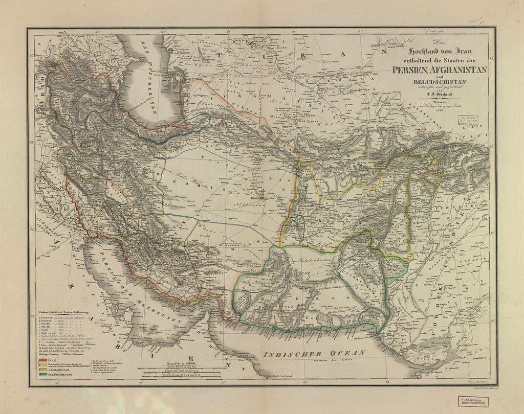 نقشه ممالک فارس، افغانستان و بلوچستان